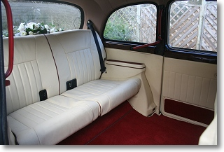 Interior of London Taxi Cab for wedding car hire in Essex